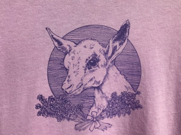 Baby goat graphic on lilac tee shirt