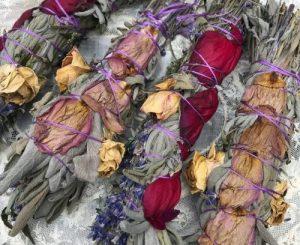 Sage Lavender Smudge with Rose Petals