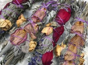 Sage Lavender Smudge with Rose Petals