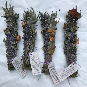 Sage Lavender Mugwort Rose Smudge sticks.