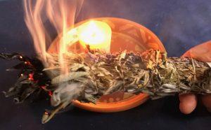 Burning sage smudge