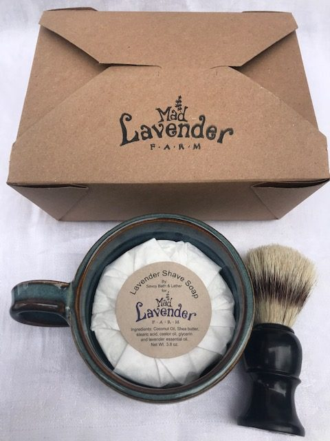 shave soap, mug and brush to go