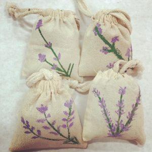 hand painted sachet bags