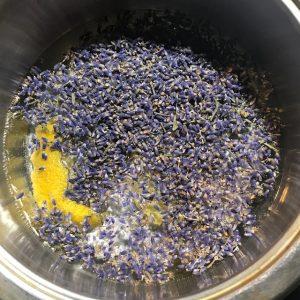 Simmering lavender bud and lemon peel