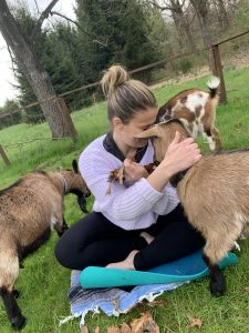 Shannon with goats